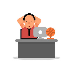 Basketball manager. Sports director in the workplace. Vector illustration isolated on white background.