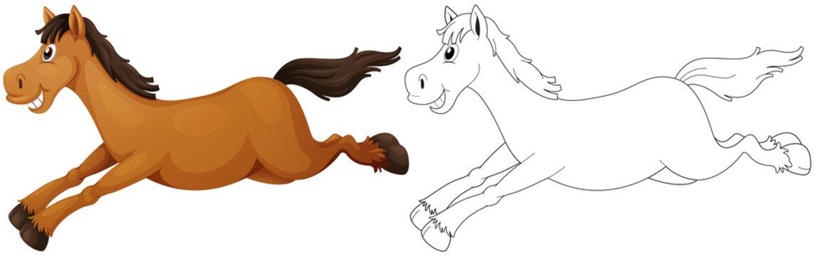 Animal outline for pony running