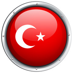 Turkey flag on round frame