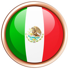 Mexico flag on round frame