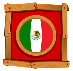 Mexico flag on round badge
