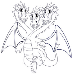 Doodle animal character for dragon with three heads