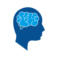 mental health silhouette person with brain