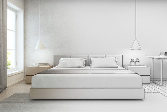 Bedroom with concrete wall background in modern house, Sketch design of home interior - 3D rendering