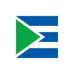 letter E flag logo vector.