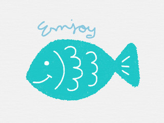Cute fish smile cartoon color pencil drawing kid style and word enjoy