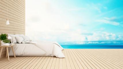 bedroom in hotel or condominium sea view-3D Rendering