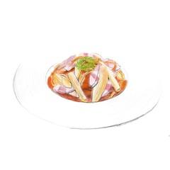 ベーコンと玉ねぎのトマトスパゲティ