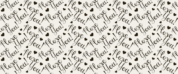 I love you, inscription design, seamless pattern, black and white vector image