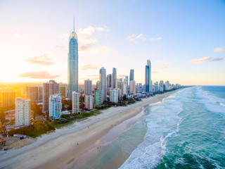 Surfers Paradise on the Gold Coast from an aerial perspective.