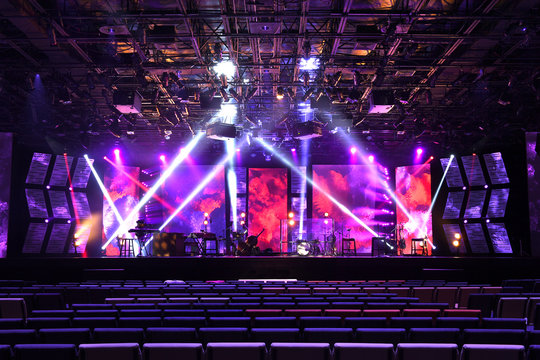 Stage With Lighting and Musical Instruments
