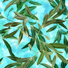 Seamless pattern with olive tree branches on teal