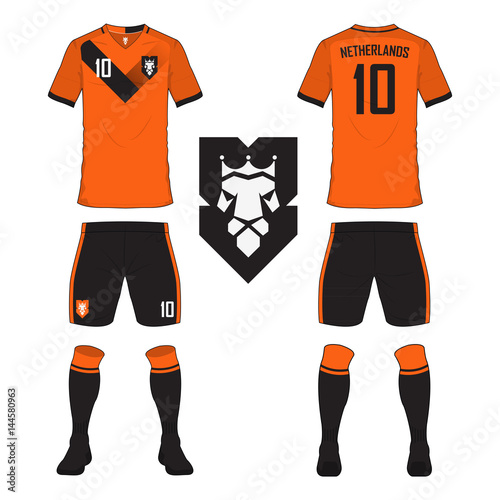 Set of soccer jersey or football kit template for Netherlands national football  team. Front and back view soccer uniform. Sport shirt mock up. 68d7a047b