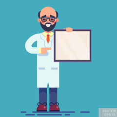 Vector - Funny doctor in white coat pointing on white blank sheet with prescription. Children vector flat illustration