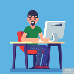 Young handsome man is sitting typing something on the desktop computer and friendly smiling. Business concept office work Freelancing. Modern vector illustration flat style.