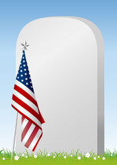 Vector Memorial day concept of American flag and gravestone on green grass