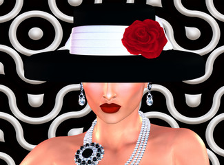 Fashion scene,attractive woman in vintage style black and white hat with a red rose in our 3d render digital art style. Great image for projects about vintage fashion and beauty!