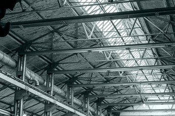 structure steel frame of industrial roof with skylights