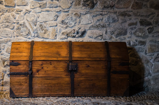 Old casket made from wood in the castle