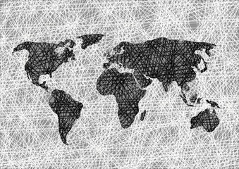 Pencil drawing sketch world map Vector illustration