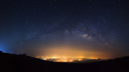 Panorama milky way galaxy at Phutabberk Phetchabun in Thailand.Long exposure photograph.With grain