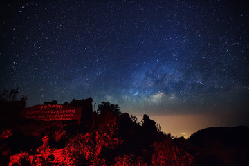 Doi Luang Chiang Dao, Chiang Mai - Febuary 13, 2016 : Milky Way Galaxy at Doi Luang Chiang Dao with Thai Language top point signs.