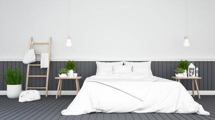 black bedroom or guestroom of hotel - 3d Rendering
