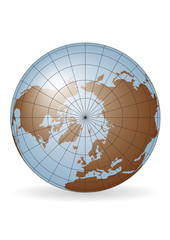 North Pole earth globe vector map