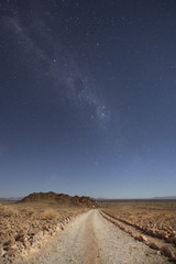 Desert road at night.