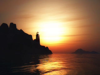 3D landscape with lighthouse at sunset