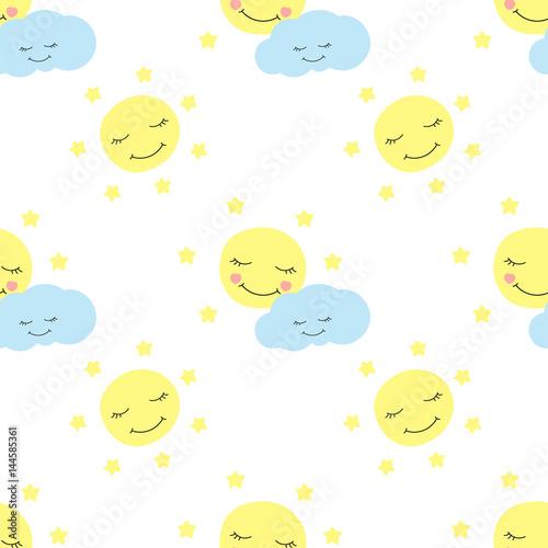 """Cute baby moon pattern vector seamless. Children print ..."