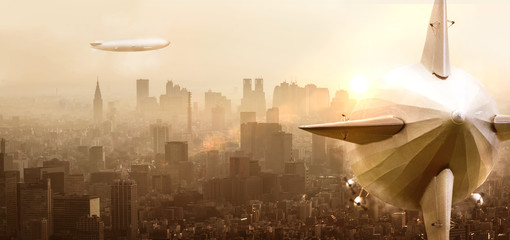 Airship over a city with sunset