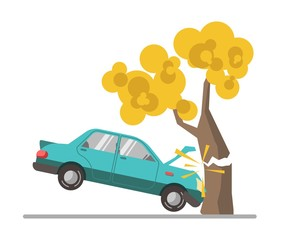 Car crash accident in tree flat vector illustration