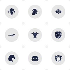 Set Of 9 Alive Icons Set.Collection Of Tomcat, Mutton, Steed And Other Elements.