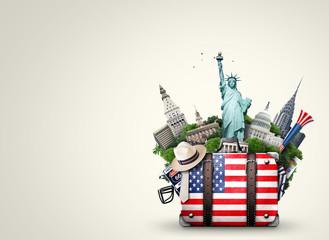 Poster de jardin Etats-Unis USA, vintage suitcase with American flag and landmarks