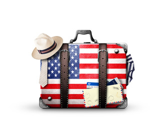 USA, vintage suitcase with American flag
