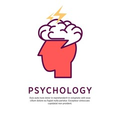 Psychology concept vector illustration. Profile portrait of human head with open brain and