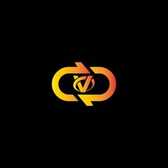 V letter in polygon stock logo design vector