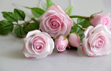 clay art, pink roses flower