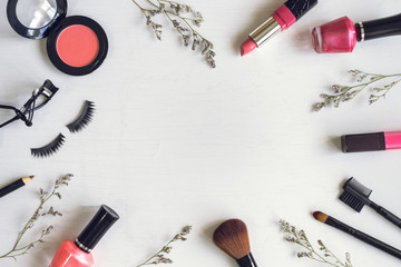 makeup cosmetics and brushes