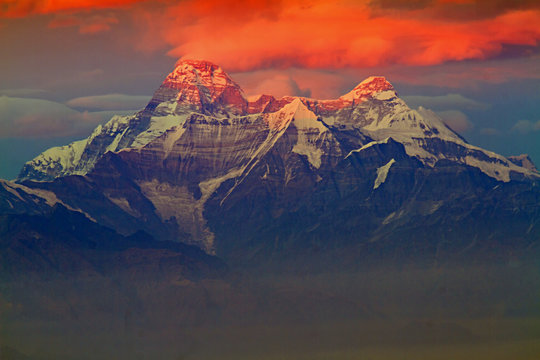First light on Nanddevi peak in the Himalayas. Elevation 7,816 Meter