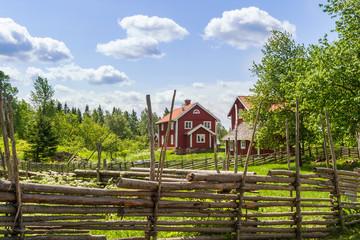 Swedish farm in the old idyllic rural landscape