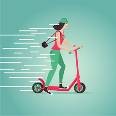 Young girl riding a scooter. Cartoon illustartion. Flat style.