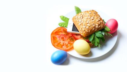 Smartphone and hamburger, gift.