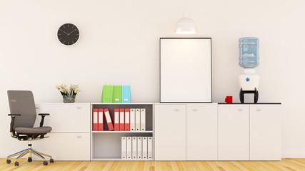 workplace in office - 3D rendering