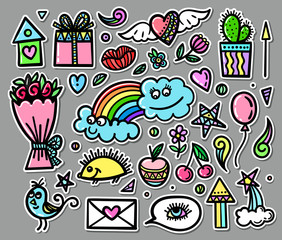Vector set of hand drawn objects, doodle elements. Funny baby pictures. Contemporary illustration for design.