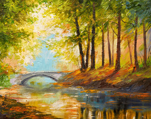 Canvas Prints Honey Oil painting landscape - autumn forest near the river, orange leaves