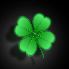 Realistic clover, glowing with shadow.Vector illustration.