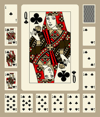 Clubs suit playing cards