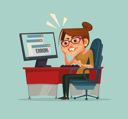 404 error message on computer. Frustrated office worker woman character. Vector flat cartoon illustration
